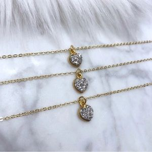 Gold Druzy Heart Necklaces